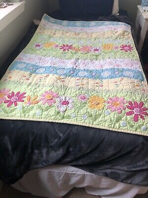 Pottery Barn Kids Daisy Garden Baby Girls Crib Blanket W/2 Flower Canvas Prints.