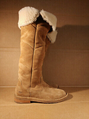 UGG  Size 8 SAMANTHA Tall Over Knee Suede Shearling Boots 1008706 Chestnut Brown