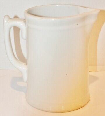 Antique Ironstone Off White Pitcher - Warranted - 45 Ounce - EUC