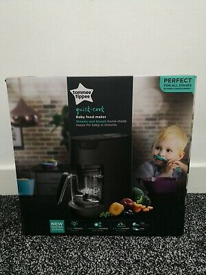Tommee Tippee Quick Cook Baby Food Maker Steamer Blender Black - Brand New