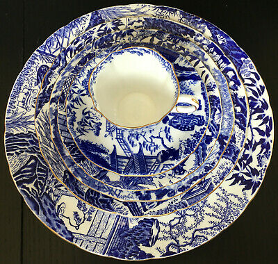 Vintage Royal Crown Derby Oriental Blue Mikado 6 Piece Place Setting 4 Available