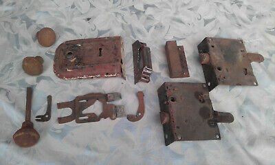 Old Antique Iron Metal Door Rim Lock Knob Latch