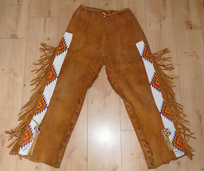 Vintage Native american beaded Rehlederhose,Deerskin pants