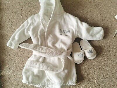 BAMBAM Baby White First Towelling Robe & Slippers
