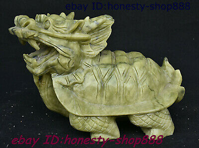 Chinese Xiuyu Jade Fengshui Animal Dragon Tortoise Loong Turtle God Beast Statue