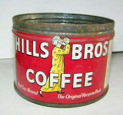 vintage coffee tin Hills Bros Coffee red can brand Edgewater, N.J.1/2#