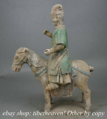 """14.4"""" Marked Old Chinese Tang Sancai Ceramics Sergeant Major Ride Horse Statue"""