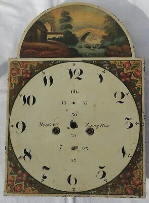 Antique Hand Painted 13 Inch Arched Clock Dial