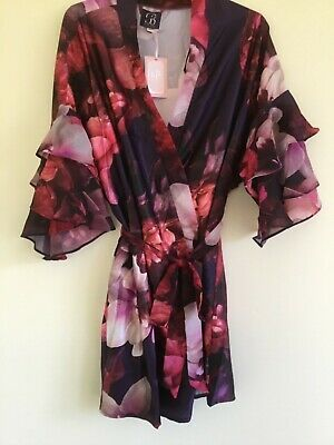 B by Ted Baker Purple Satin Floral Print Splendour Dressing Gown Size 16-18