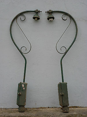 Pair Of Victorian Cast Iron Street Lamps (Complete With Electric Control Boxes)