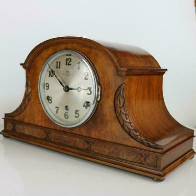 WALNUT MANTEL CLOCK with WHITTINGTON & WESTMINSTER DUAL CHIMES gorgeous case
