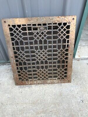 Antique cast-iron heat grate  16.25 x 18 and three eights