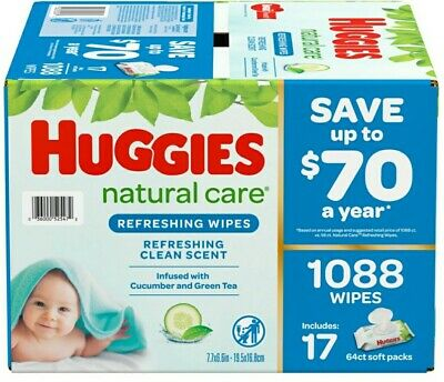 Huggies Natural Care Wipes For Baby 17 Refill Pack 1088 Sheets Refreshing Scent