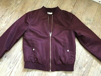 H&M bomber jacket burgundy Girls / womens Age 14+  ( fit Size 8-10)