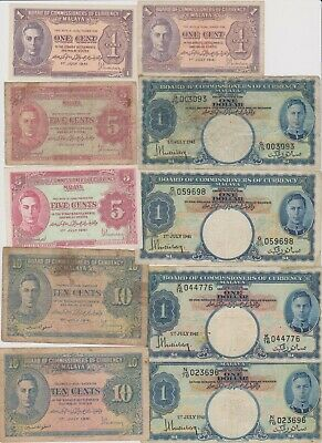 Lots of 10 early Malaya junk notes, circulated