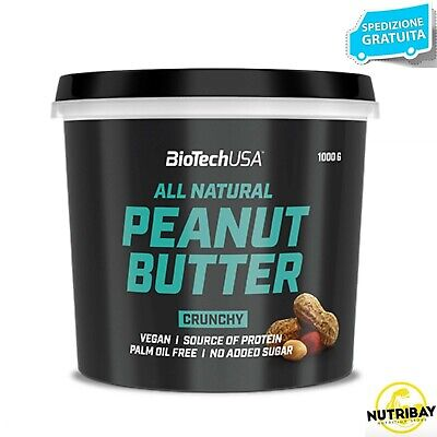 BIOTECH USA PEANUT BUTTER All Natural CRUNCHY 1 kg BURRO D ARACHIDI CRUNCHY