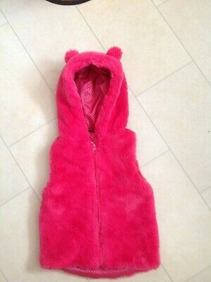 Girls Faux Fur Pink Hooded With Ears Gilet 2-3 Years