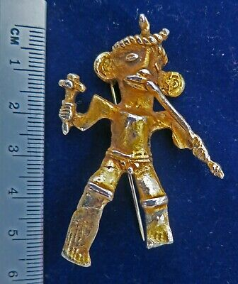 **Antique Columbian Silver Gilt gold Brooch South American