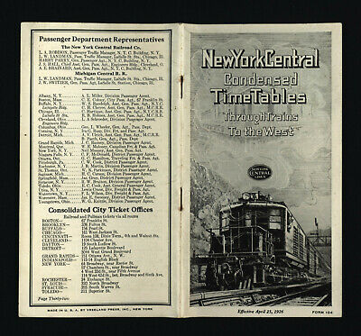 New York Central 4/25/1926 Condensed Time Tables Through Trains to the West