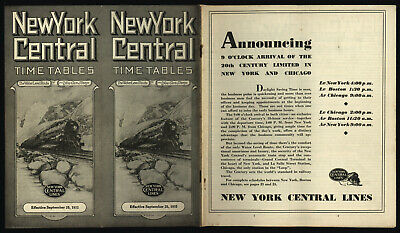 New York Central September 25, 1932 Time Tables