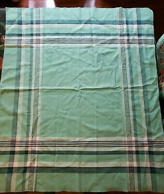 "Vintage Material Tablecloth Card Tablecloth Green Plaid 36"" x 32"" scarf"