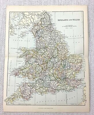 1897 Antique Map of England and Wales English Counties Great Britain UK British