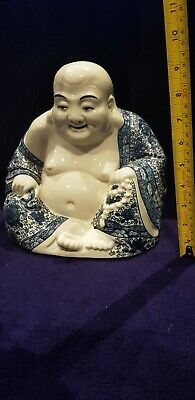 Stunning Antique Chinese Famille Rose Porcelain Laughing Buddha 220mm high