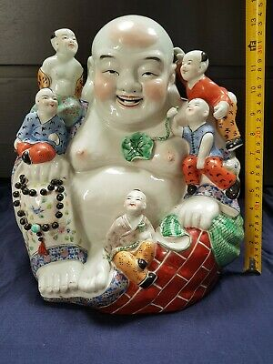 "Huge13"" Antique Chinese Famille Rose Porcelain Laughing Buddha 340mm high"