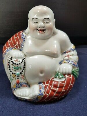 Stunning Antique Chinese Famille Rose Porcelain Laughing Buddha 140mm high