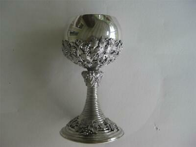 sterling silver goblet with applied intricate grape design 191 grams weight
