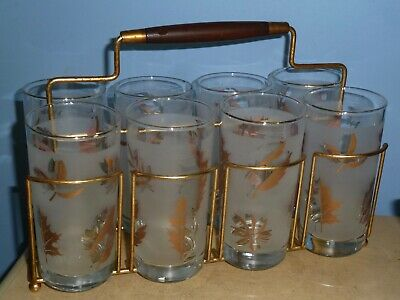 8 Vtg Barware 1960'S Frosted Gold Leaf Cocktail Highball Glasses With Caddy