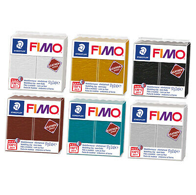 Fimo Leather Effect 57g Polymer Clay 6 Colour Range Modelling Materials