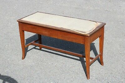 Victorian Antique Duet Piano Stool Window Seat with Storage