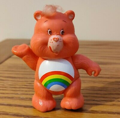 Vintage Care Bear Figure, Cheer Bear, Rainbow, 1980's 1983 Poseable 3.5""