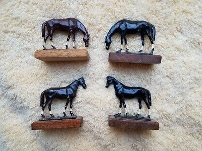 4 metal enameled / painted horses on wood bases 2 brown 2 black standing grazing