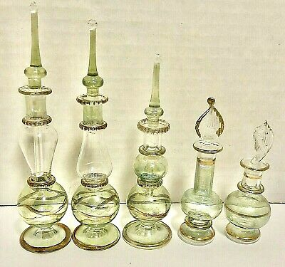 Egyptian Perfume Bottles Hand Blown Decorative Green Set of 5 Worn Damage