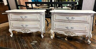 Pair Of Wood Drexel French Provencal Nightstand End Tables White End Tables