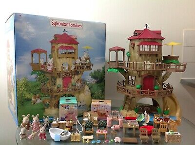 Sylvanian Families Boxed Old Oak Hollow Tree + 2 Nib Sets + Figures + Furniture