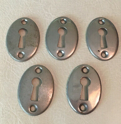 Vintage Chrome/Brass Skeleton Oval Key Hole Plates Escutcheon Door Hardware