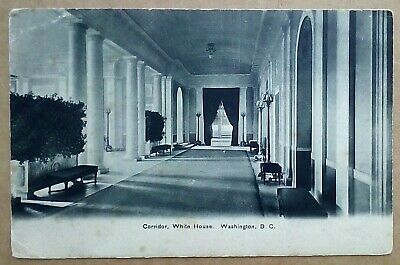 Old Postcard The Whitehouse Corridor Washington DC US President Link in Message.