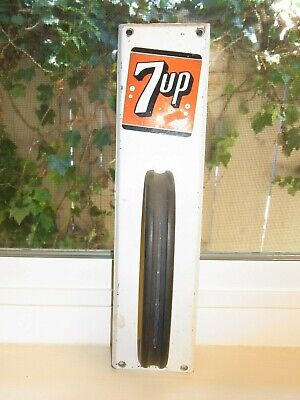 "Vintage 7 Up Logo Door Pull Sign & Old Style Plastic Handle 12 X 3 X 2"" Metal"