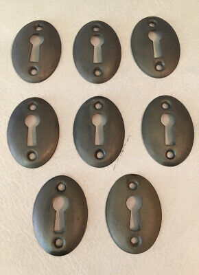 8 Vintage SOLID Brass Oval Key Hole Escutcheon Covers Reclaimed Hardware