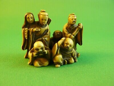 Japanese Carved Netsuke ~ 19th c. Six Master Poets by Issea ~ Copy