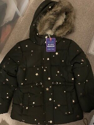 BNWT Joules Girls Sherpa Lined Padded Stella Coat Jacket Night Sky Star Age 4