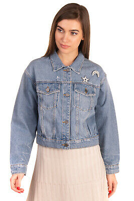 RRP €200 JOIE Denim Jacket Size XS Distressed Worn Look Embellished Brooches
