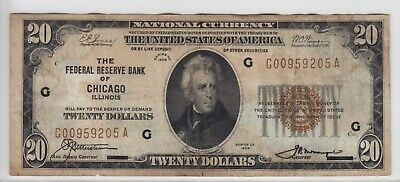 1929 Federal Reserve Bank of Chicago, IL $20 Note FR#1870-G G00959205A