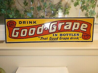 "Vintage Drink Good-Grape Thin Tacker Sign ""That Good Grape Drink 5 3/8 X 19 1/2"""