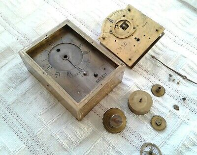 Early Antique Verge  Brass Clock For Restoration, Spares