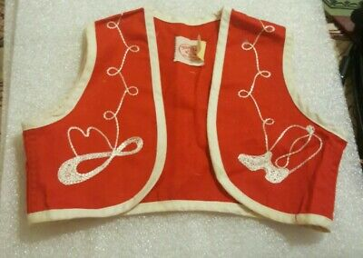 Vintage Tex Sis San Antonio Western Cowgirl Vest 1940s 1950s Girls Embroidered