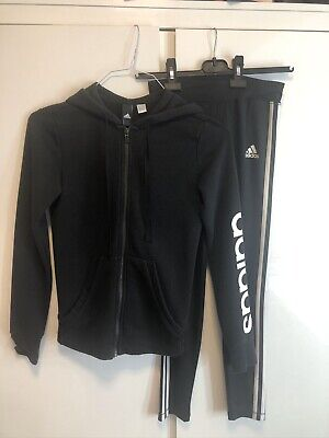 Adidas Girls Black Tracksuit Both Size 11-12 Years